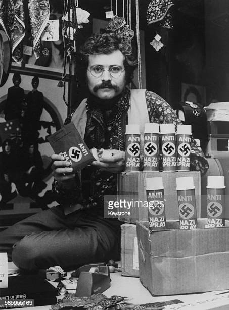 Cans of air freshener branded 'AntiNazi Spray' on display at Pudding Explosion a popculture store or head shop in Frankfurt Germany 1968 Sale of the...