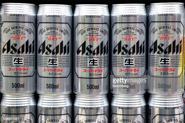 Cans of Asahi Breweries Ltd Asahi Super Dry beer are displayed for sale at a supermarket in Soka City Saitama Prefecture Japan on Tuesday Feb 8 2011...