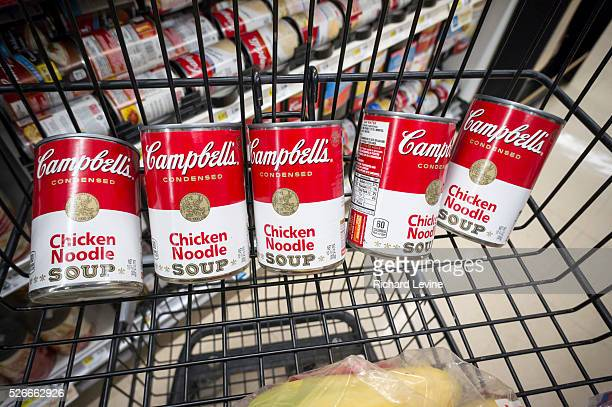 Cans of Campbell's iconic Chicken Noodle Soup are seen in a supermarket in New York on Tuesday November 10 2015 The Campbell Soup Co announced its...