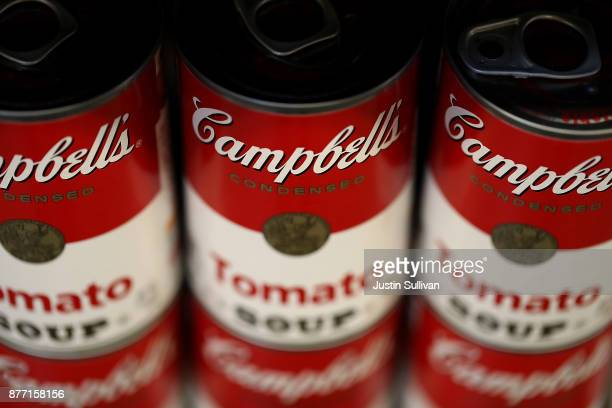 Cans of Campbell's soup are displayed on a shelf at Marinwood Market on November 21 2017 in San Rafael California Campbell Soup reported...