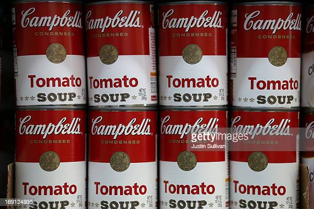 Cans of Campbell's tomato soup are displayed on a shelf at Santa Venetia Market on May 20, 2013 in San Rafael, California. Campbell Soup Co. Reported...