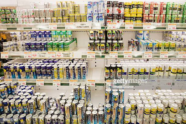 Cans of chuhai in a supermarket fridge