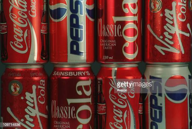 Cans Of Cola Including COCACOLA PEPSI COLA SAINSBURYS COLA and VIRGIN COLA