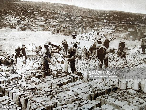 Cans of filtered water is loaded for the Mediterranean Expeditionary Force during the Battle of Gallipoli