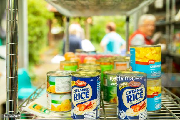 Cans of food are seen at St Paul's Anglican Church in Burwood on March 24 2020 in Sydney Australia The Parish Pantry provides food for the vulnerable...