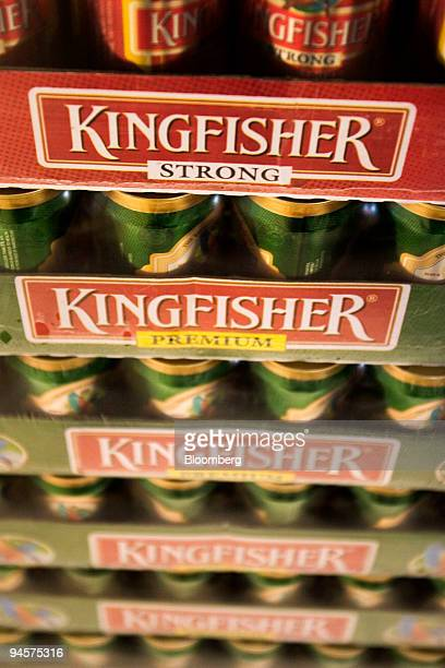 Cans of Kingfisher Beer made by United Breweries Ltd are stacked in a liquor store in New Delhi India March 18 2007
