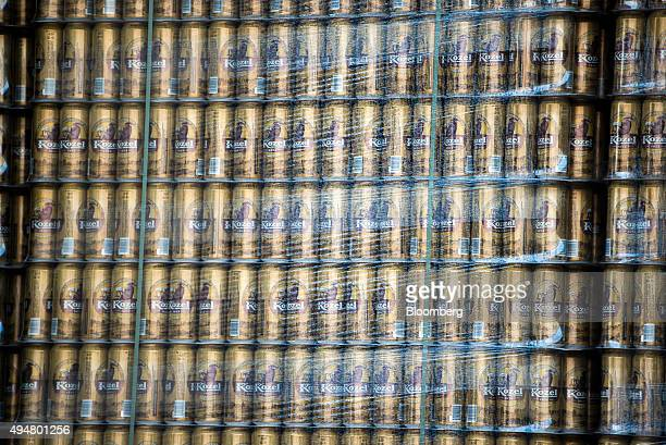 Cans of Kozel beer stand shrinkwrapped inside a delivery truck at SABMiller Plc's Dreher brewery in Budapest Hungary on Wednesday Oct 28 2015 UK...