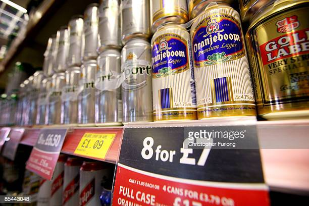 Cans of lager line the shelves in an off licence on March 16 2009 in Knutsford England The Government's Chief Medical Officer Sir Liam Donaldson has...