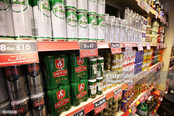 Cans of lager line the shelves in an off licence on March 16, 2009 in Knutsford, England. The Government's Chief Medical Officer Sir Liam Donaldson...