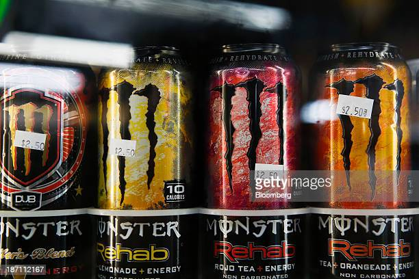 Cans of Monster Beverage Corp energy drink are displayed for sale at a convenience store in Redondo Beach California US on Tuesday Nov 5 2103 Monster...