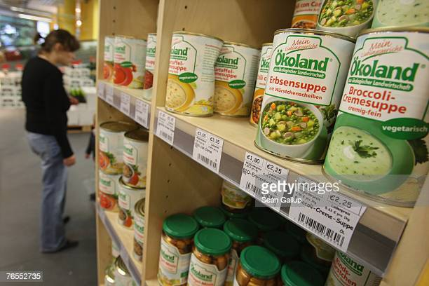 Cans of organic soup stand on display at the LPG Bio supermarket in the district of Prenzlauerberg September 6 2007 in Berlin Germany Germanys...