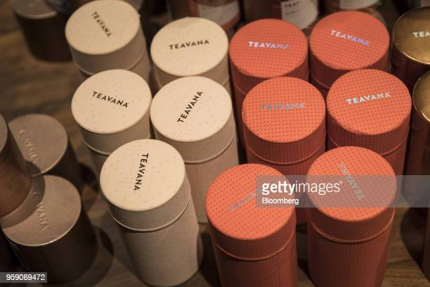 Cans of Teavana tea products are displayed for sale inside the Starbucks Corp Reserve Roastery store in Shanghai China on Friday May 11 2018...
