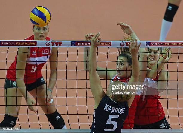 Cansu Aydinogullari and Melike Yilmaz of Turkey in action against Ana Mariam Kipshidze of Georgia during 2015 CEV Women Volleyball European League...