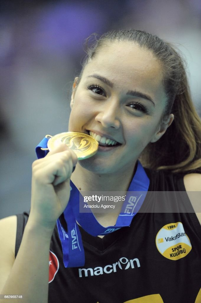 cansu cetin of vakifbank istanbul gestures after winning the fivb