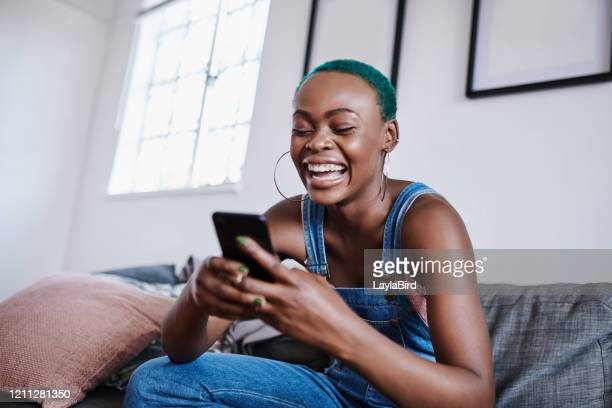 i can't believe he texted back! - blue hair stock pictures, royalty-free photos & images