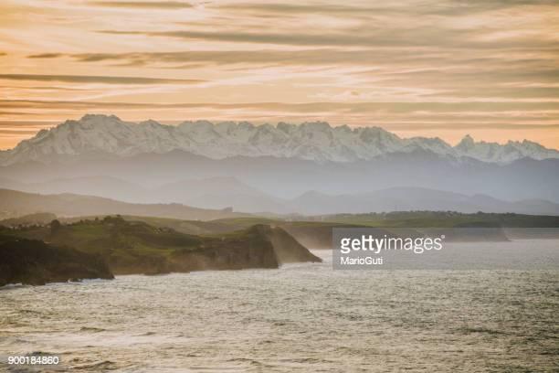 Cantabria, Spain - Picos de Europa mountain range as seen from the coastside