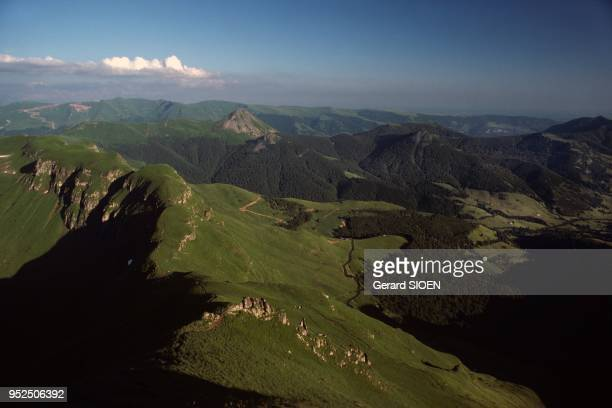 Cantal mountains, panoramic view of Puy Mary in the regional natural park of Auvergne volcanoes, the Puy Mary is one of the remains of an ancient...