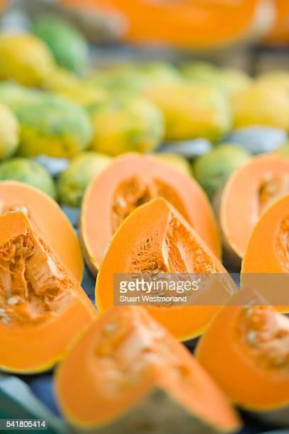 Cantaloupe and Papayas at Weekly Market