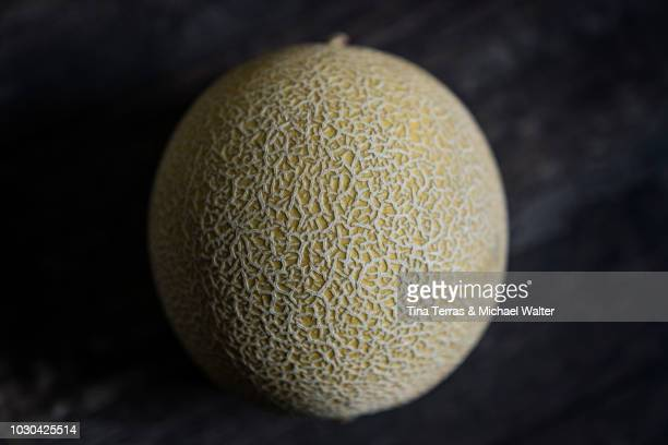 cantaloupe (honigmelone) on dark wood background. - muskmelon stock pictures, royalty-free photos & images