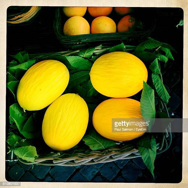 Cantaloupes on display at market