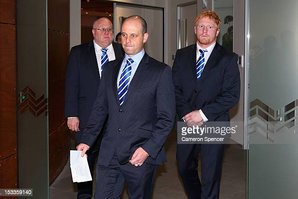 Canterbury Bulldogs CEO Todd Greenberg and James Graham of the Bulldogs leave the NRL judiciary following Graham's guilty verdict on October 4 2012...