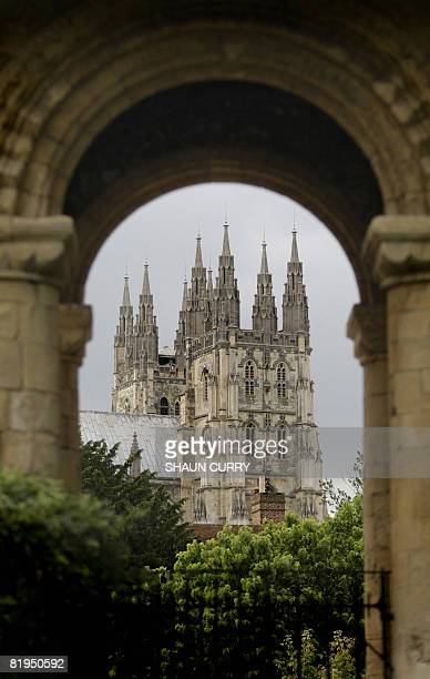 Canterbury Cathedral is pictured at the begining of the Lambeth Conference in Canterbury Kent southeast England on July 16 2008 Anglican bishops from...