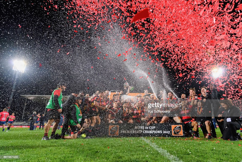 Canterbury celebrate with the Rugby Cup after their win in the Mitre 10 Cup Premiership Final match between Canterbury and Tasman at AMI Stadium on October 28, 2017 in Christchurch, New Zealand.