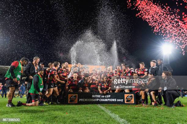 Canterbury celebrate with the Rugby Cup after their win in the Mitre 10 Cup Premiership Final match between Canterbury and Tasman at AMI Stadium on...