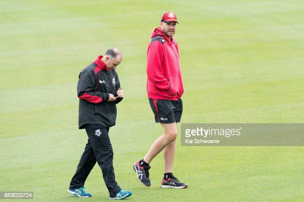 Canterbury coach Gary Stead and Peter Fulton of Canterbury look on as rain delays play during the Plunket Shield match between Canterbury and Otago...