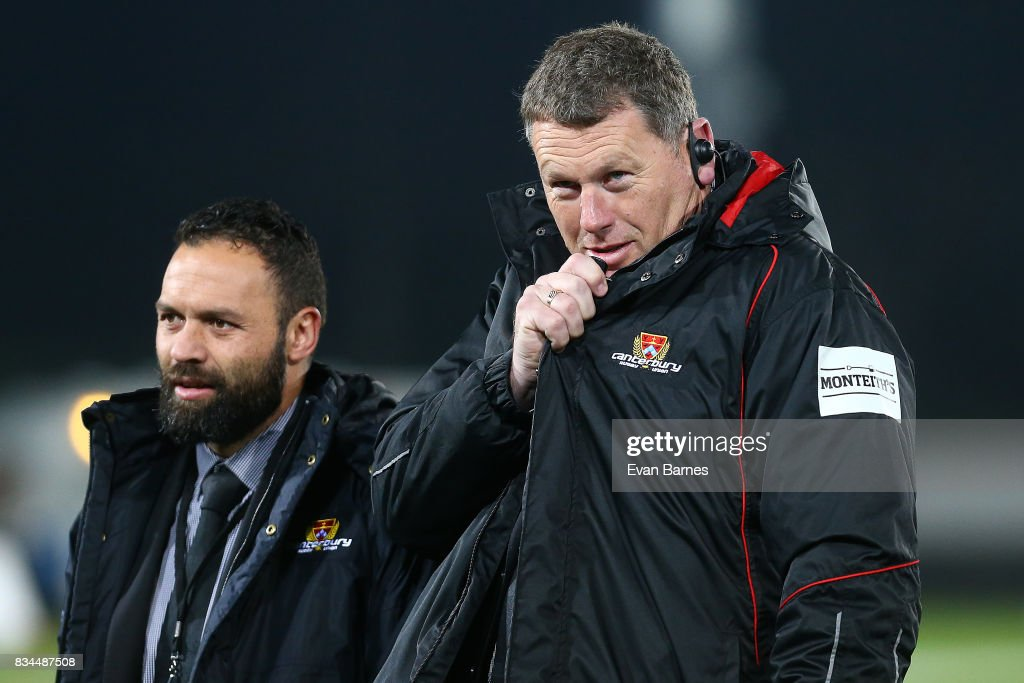 Canterbury Coach Glen Delaney during the Mitre 10 Cup round one match between Tasman and Canterbury at Trafalgar Park on August 18, 2017 in Nelson, New Zealand.