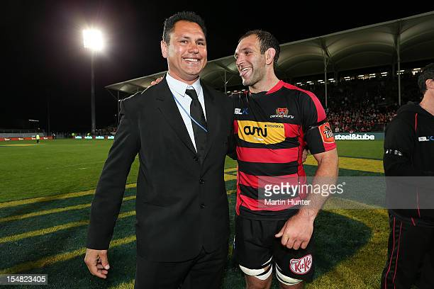 Canterbury coach Tabai Matson and captain George Whitelock celebrate after the final whistle during the ITM Cup final match between Canterbury and...