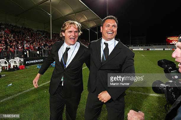 Canterbury coaches Scott Robertson and Tabai Matson celebrate after the final whistle during the ITM Cup final match between Canterbury and Auckland...