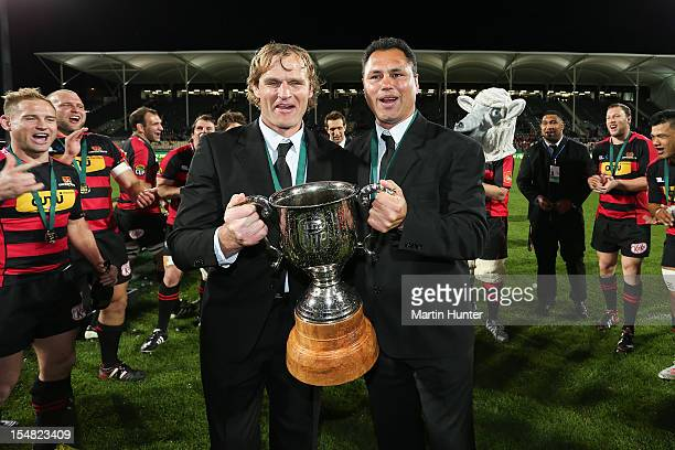 Canterbury coaches Tabai Matson and Scott Robertson celebrate with the ITM Cup after the ITM Cup final match between Canterbury and Auckland at AMI...