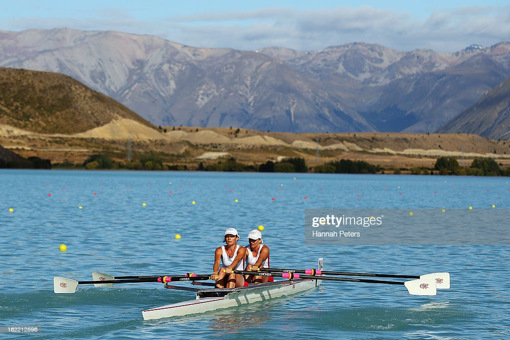 Canterbury compete in the Women's Novice 2X semifinal during day three of the New Zealand Rowing Championships at Lake Ruataniwha on February 21, 2013 in Wellington, New Zealand.