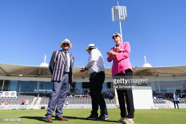 Canterbury Cricket Trust Chair Lee Robinson, New Zealand Deputy Prime Minister Grant Robertson and ICC Women's Cricket World Cup Chair Liz Dawson...