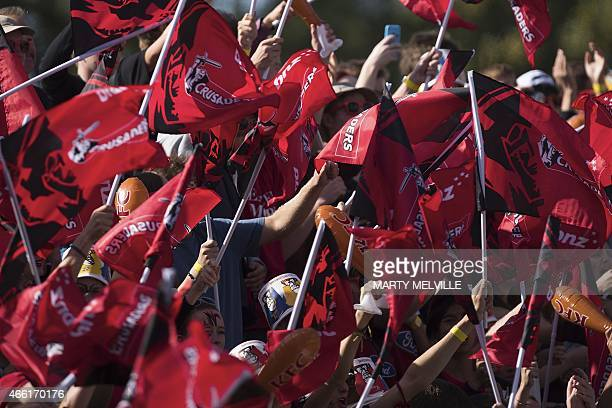Canterbury Crusaders fans celebrate a try during the Super 15 Rugby Union match between the Canterbury Crusaders and the Golden Lions of South Africa...