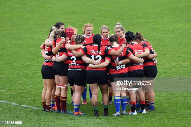 Canterbury huddle prior to the round 7 Farah Palmer Cup match between Canterbury and Tasman at Rugby Park on October 17, 2020 in Christchurch, New...