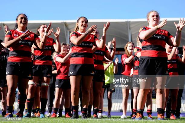 Canterbury performs a Waiata following the round 3 Farah Palmer Cup match between Canterbury and Otago at Orangetheory Stadium on September 19, 2020...