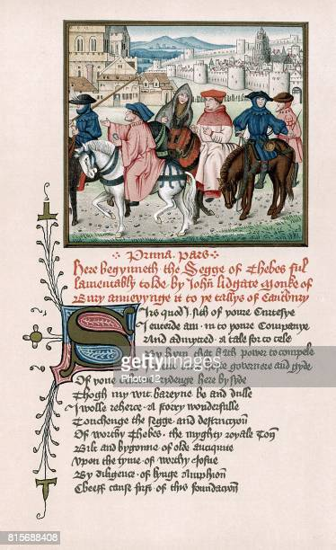 Canterbury Pilgrims from John of Lydgate Story of Thebes written c1420 and designed as an addition to Chaucer's Canterbury Tales Chromolithograph...