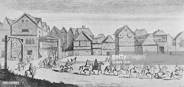 Canterbury pilgrims leave the Tabard Inn Borough High Street Southwark London The Tabard is famous as the place owned by Harry Bailey the host in...