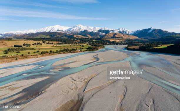 canterbury plain and the southern alps - canterbury region new zealand stock pictures, royalty-free photos & images