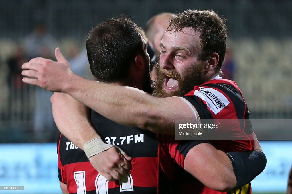 Canterbury players celebrate after the Mitre 10 Cup Premiership Final match between Canterbury and Tasman at AMI Stadium on October 28, 2017 in Christchurch, New Zealand.