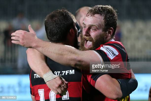 Canterbury players celebrate after the Mitre 10 Cup Premiership Final match between Canterbury and Tasman at AMI Stadium on October 28 2017 in...