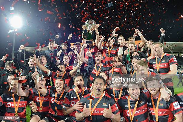 Canterbury pose with the Rugby Cup following the Mitre 10 Cup Premiership Final match between Canterbury and Tasman at AMI Stadium on October 29 2016...