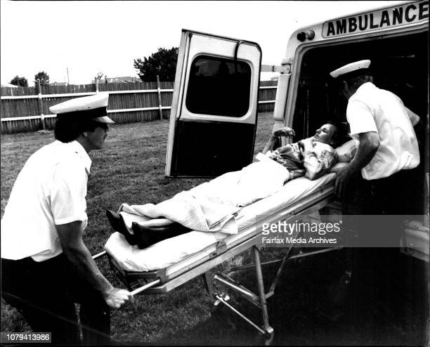 Canterbury RacesRace 5Jockey RM Quinn who feel just after the start being put into an ambulance Horse Antidote December 10 1977