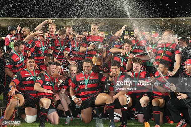 Canterbury rugby team celebrate winning the ITM Cup Premiership Final between Canterbury and Auckland at AMI Stadium on October 24 2015 in...
