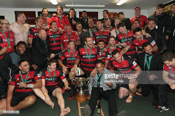 Canterbury rugby team celebrate winning the ITM Cup Premiership