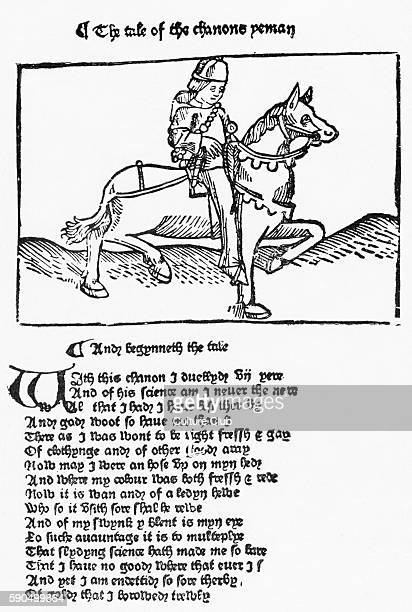 Canterbury Tales by Geoffrey Chaucer 'The Tale of the Chanone Yeman' After an illustration from the second edition printed by Wiliam Caxton GC...