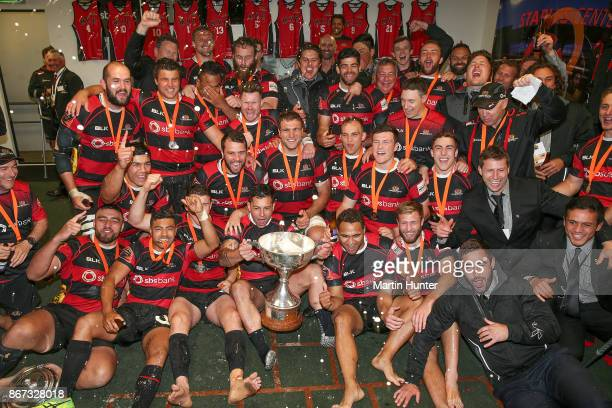 Canterbury team mates celebrate after the final of the Mitre 10 Cup Premiership Final match between Canterbury and Tasman at AMI Stadium on October...