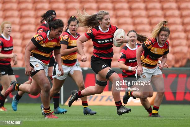 Canterbury's Alana Bremner runs in a try during the round 6 Farah Palmer Cup match between Waikato and Canterbury at FMG Stadium on October 06 2019...
